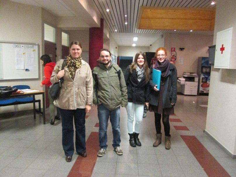 В 2013 году удалось заключить соглашение с университетом г. Монса в Бельгии. На этой фотографии я вместе со студентами, которые собираются приехать в Москву по обмену.